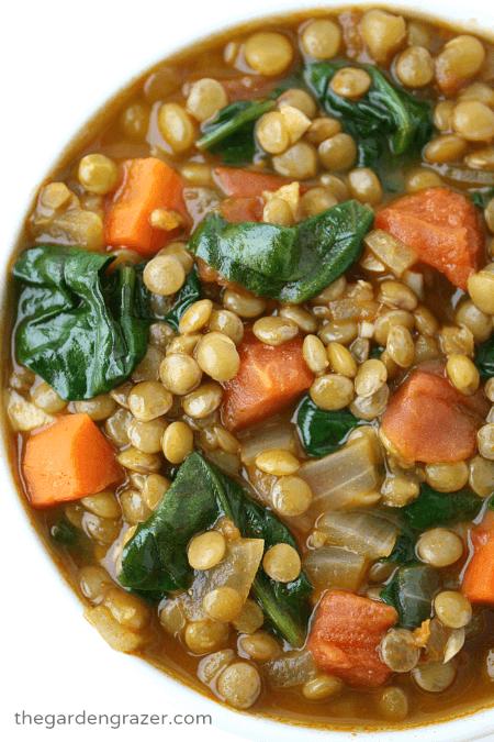 Vegan Lentil Spinach Soup   The Green Loot #vegan #healthy