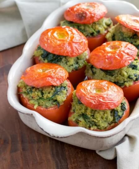 Vegan Pesto Spinach Quinoa Stuffed Tomatoes