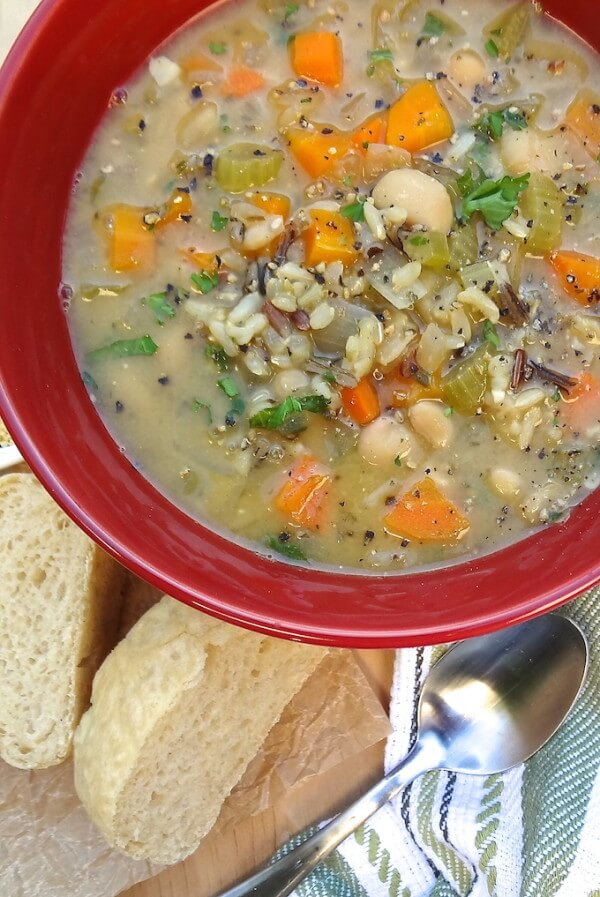Vegan Quick One-Pot Veggie and Wild Rice Soup