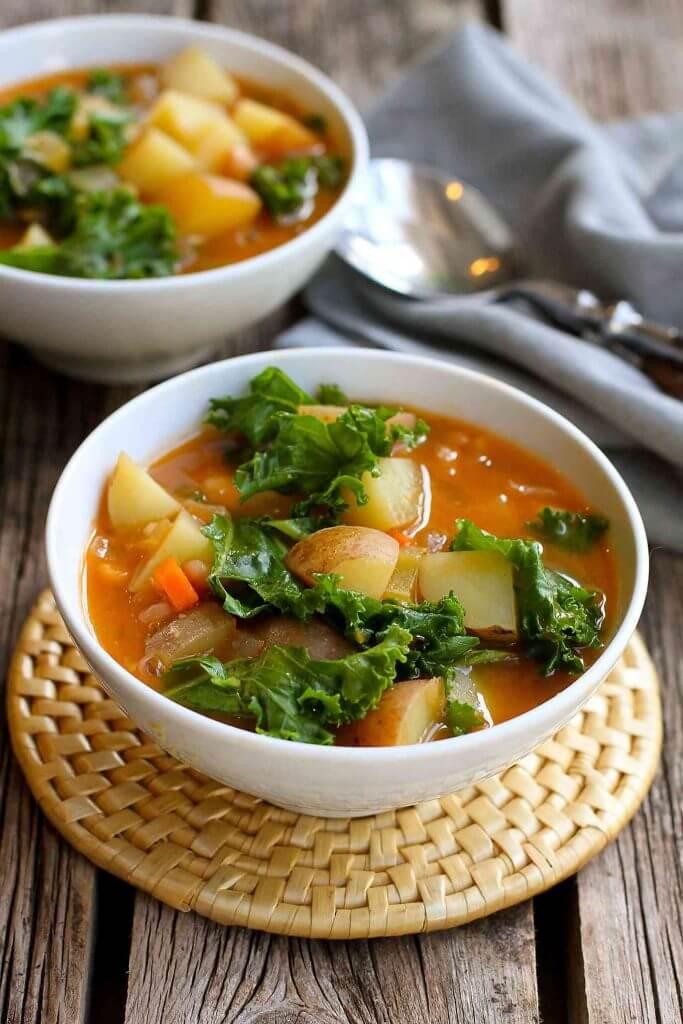 Vegan Potato Soup with Beans & Kale