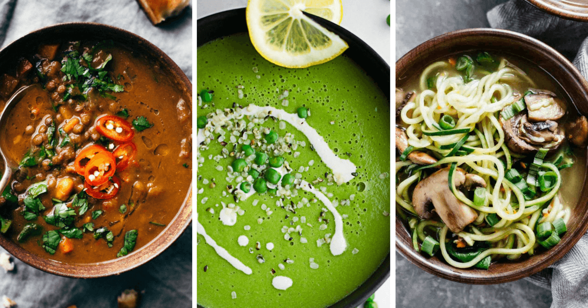 These healthy vegan soup recipes are super easy to make. Dairy-free and plant-based, full of potatoes, veggies and lentils. Most are gluten-free too. Enjoy! | The Green Loot #vegan