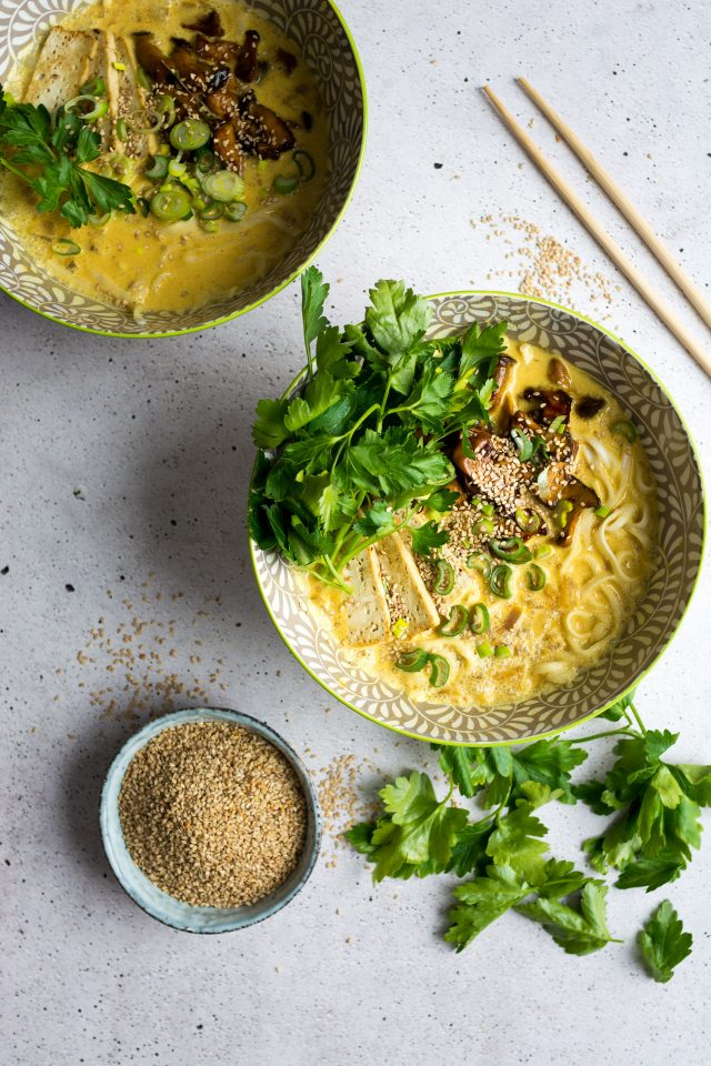 Vegan Coconut Curry Ramen Noodles with Mushrooms