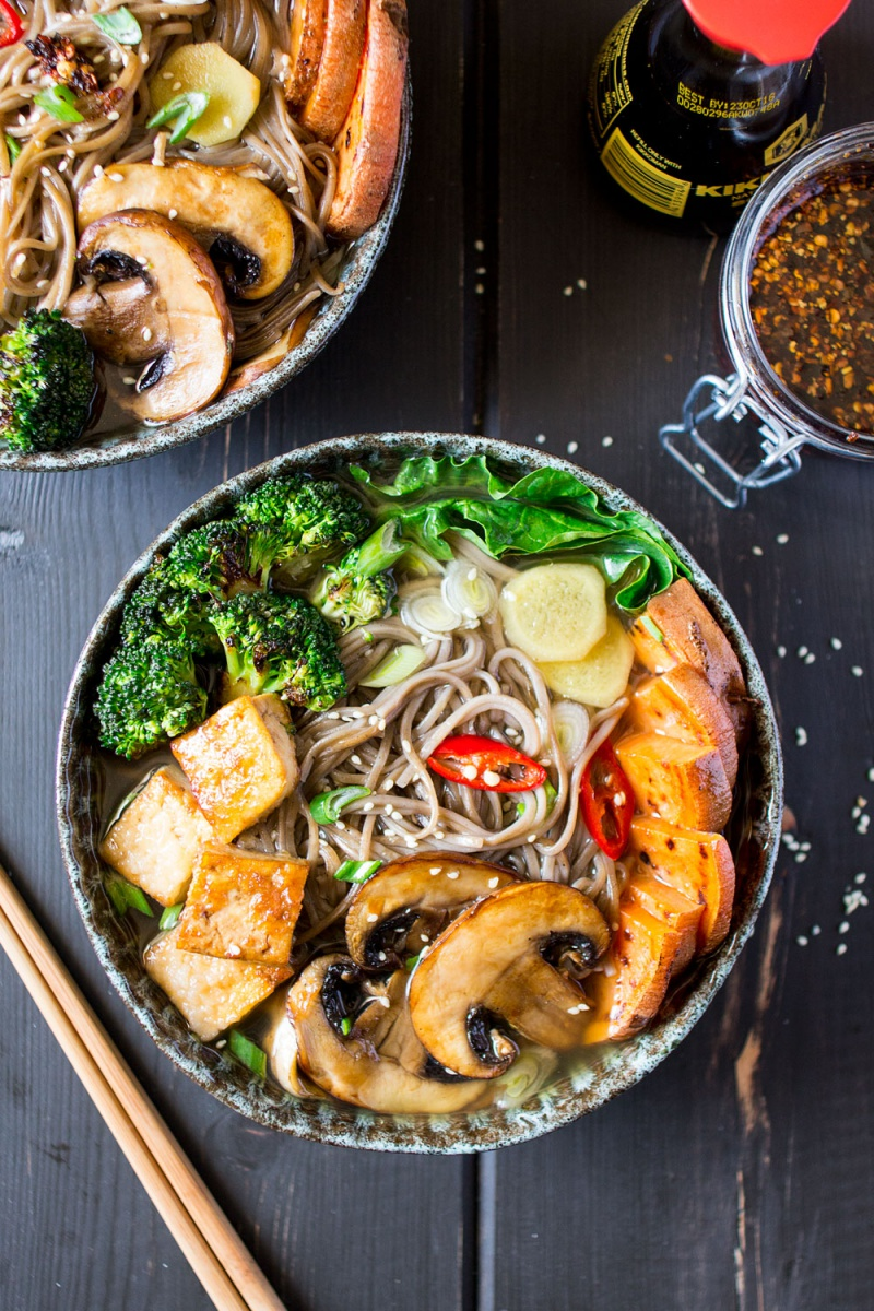 Vegan Ramen with Grilled Vegetables and Tofu