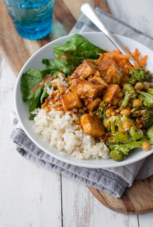 Vegan Peanut Tofu Buddha Bowl