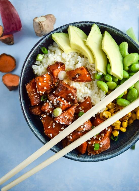 Vegan Teriyaki Cauliflower Rice Bowl