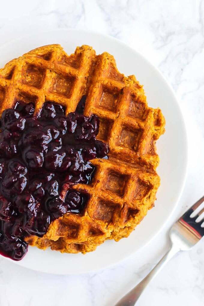 Vegan Blender Sweet Potato Waffles with Blueberry Sauce