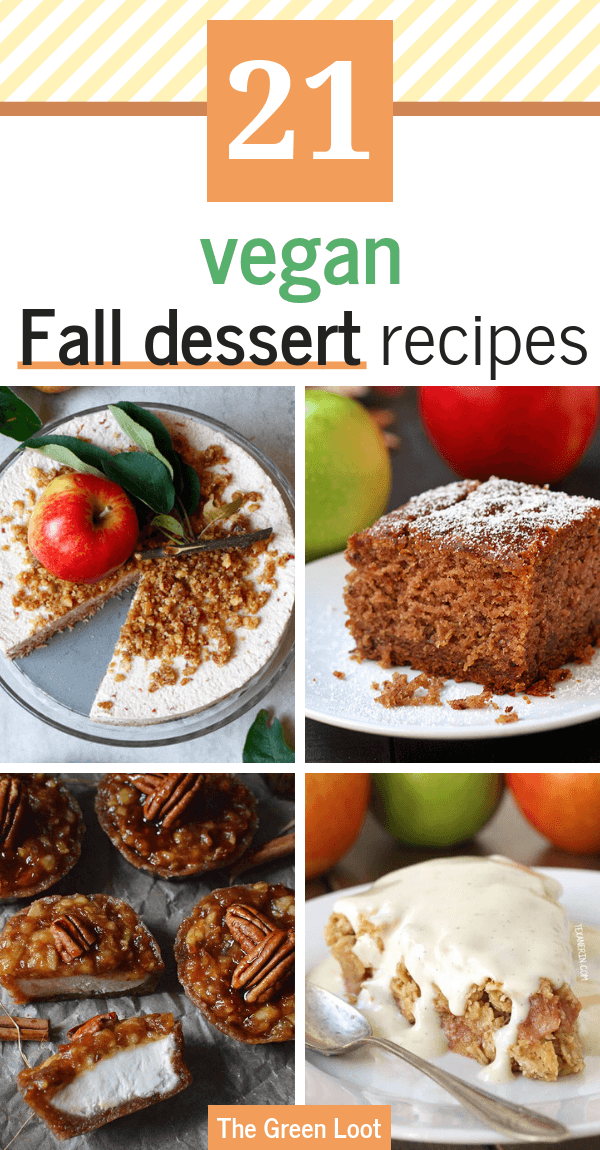 These Vegan Fall Dessert Recipes will get you in that Sweater Weather mood in no time! Cozy cinnamon, apple and pumpkin are the main ingredients in these super tasty and comforting sweet, dairy-free treats. | The Green Loot #vegan #veganrecipes #dairyfree