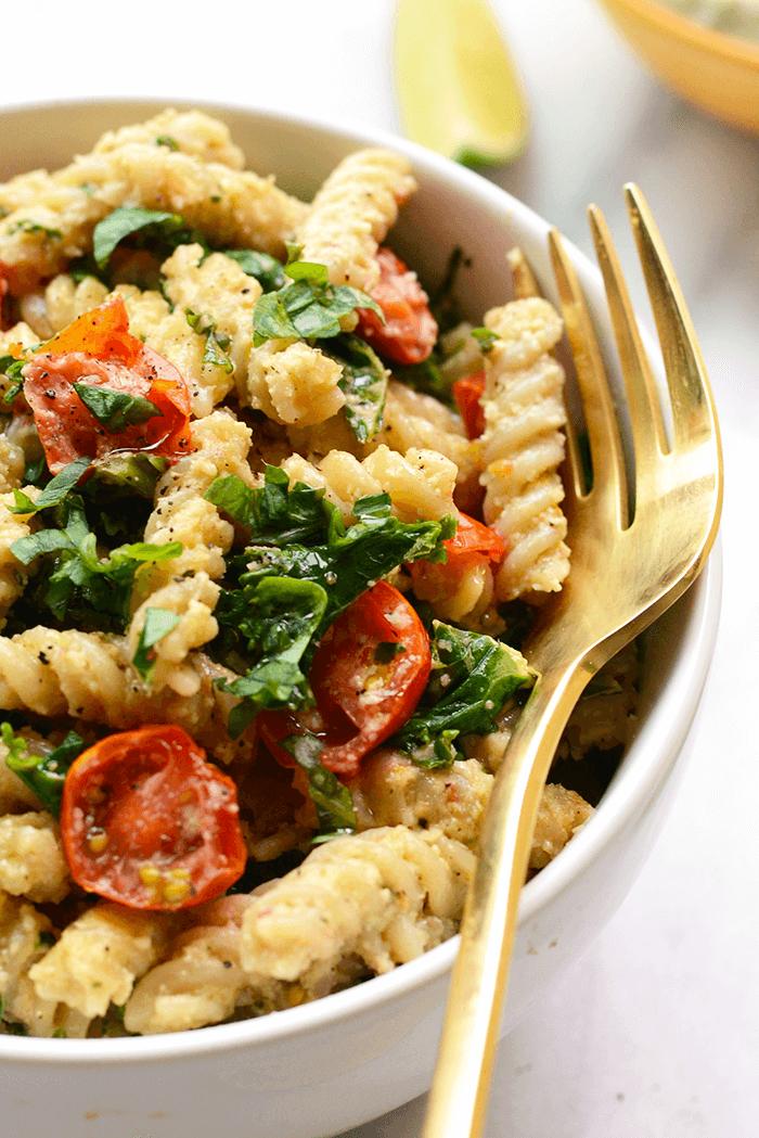 Vegan Cheezy Pasta with Kale