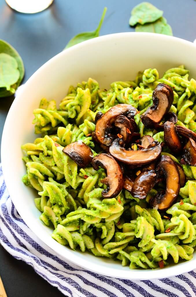 Vegan Avocado-Spinach Pesto Pasta with Mushrooms