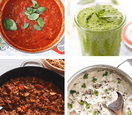 These healthy and plant-based Vegan Pasta Sauce Recipes you can make in 20 minutes or less, when those serious pasta cravings kick in. | The Green Loot #vegan #veganrecipes #healthyeating #plantbased #dairyfree