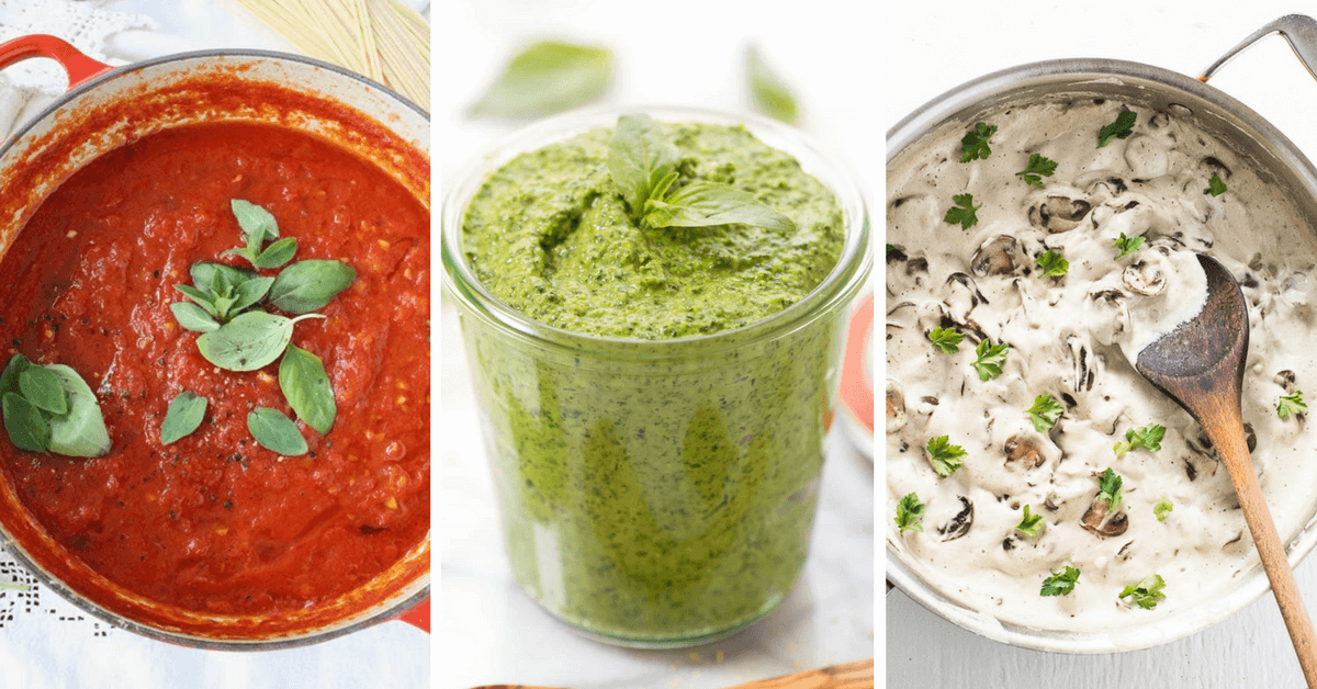 Vegan pasta sauce recipes that are creamy, plant-based, dairy-free and easy to make. Make these sauces with tomatoes or veggies for a healthy pasta. | The Green Loot #vegan #dairyfree | The Green Loot #vegan #dairyfree