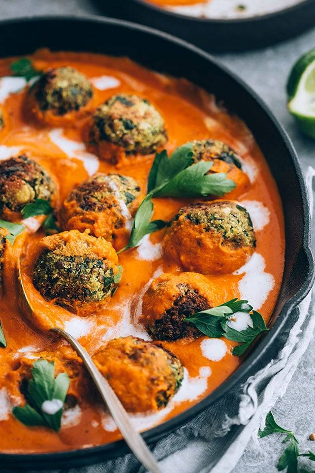 Spiced Pumpkin Tomato Sauce with Lentil Meatballs
