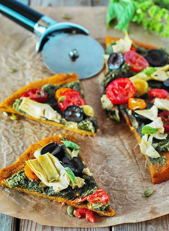 Vegan Mediterranean Pumpkin Pizza, Glute-free! (Vegan Pumpkin Recipes)