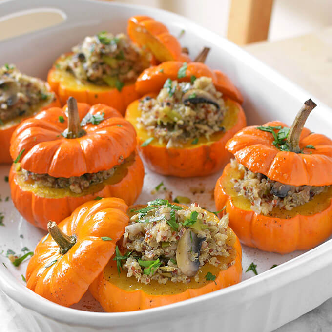 Vegan Savory Mushroom and Quinoa Stuffed Mini Pumpkins