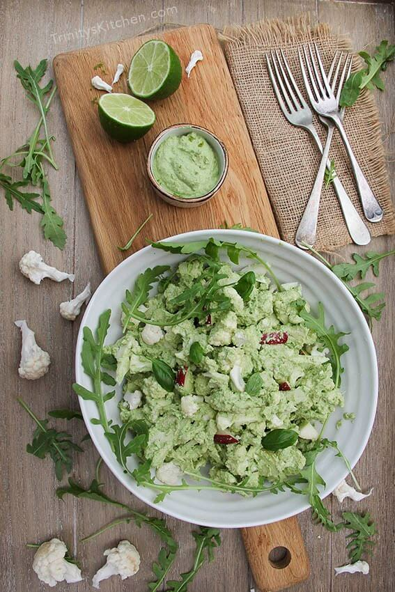 Vegan Cauliflower Salad with Cashew Lime Pesto