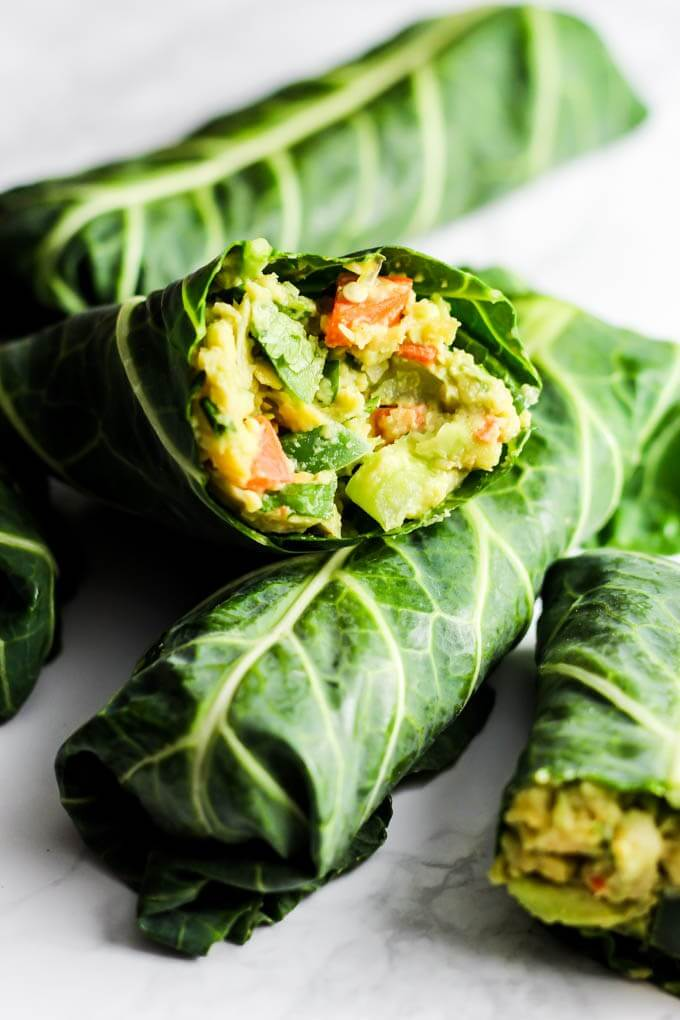 Avocado Chickpea Salad Collard Wraps
