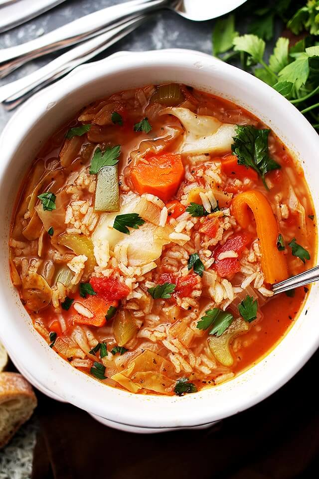 Vegan Cabbage Soup with Rice