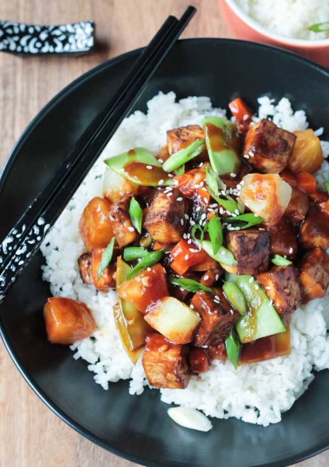 Baked Tofu Stir Fry with Pineapple