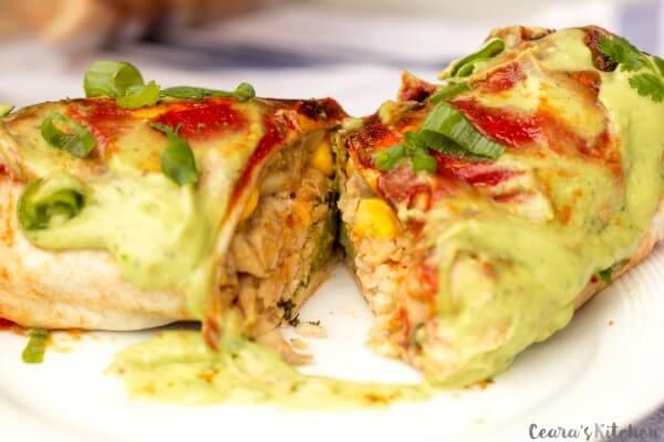 Vegan White Bean and Avocado Baked Burritos
