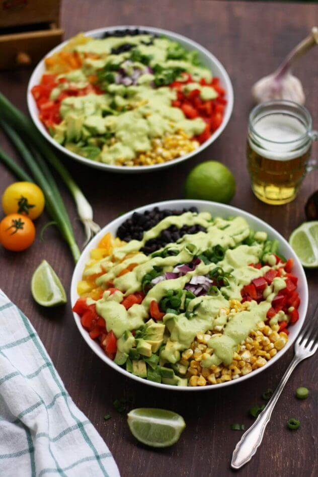 Vegan Chopped Mexican Salad with Avocado Dressing