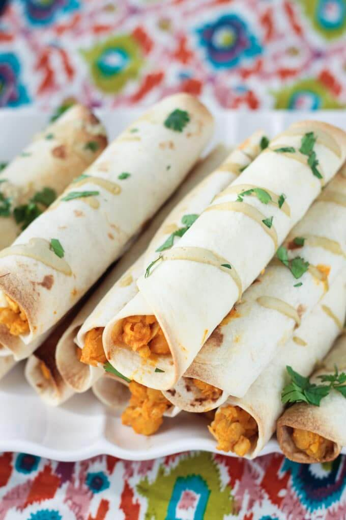 Vegan Baked Buffalo Chickpea and Artichoke Taquitos