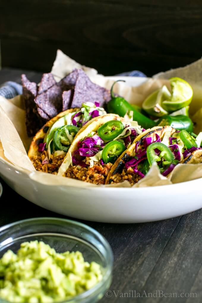 Vegan Tofu Tacos with Chili-Lime Slaw