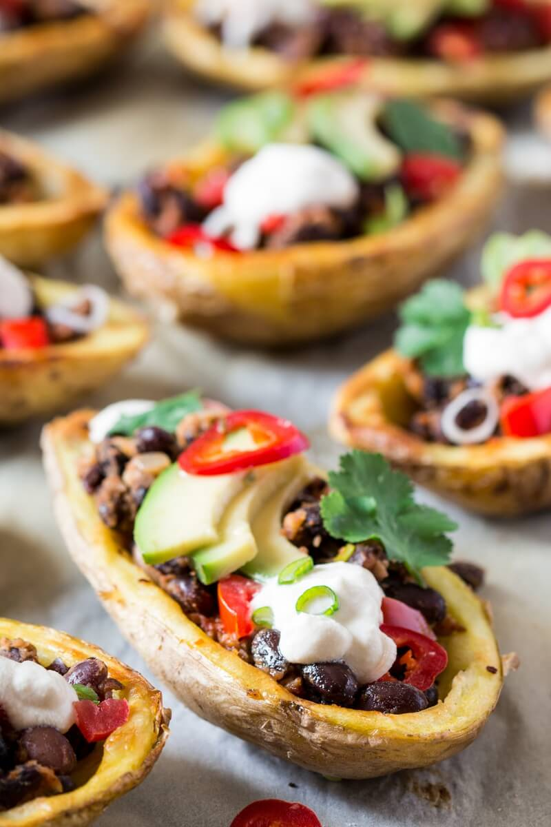 Vegan Mexican Potato Skins (gluten free) // Healthy Vegan Mexican Recipes for Dinner