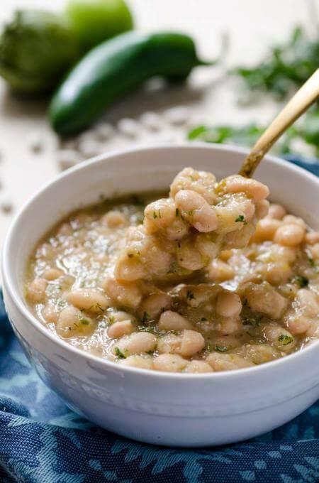 Vegan Tomatillo Poblano White Beans