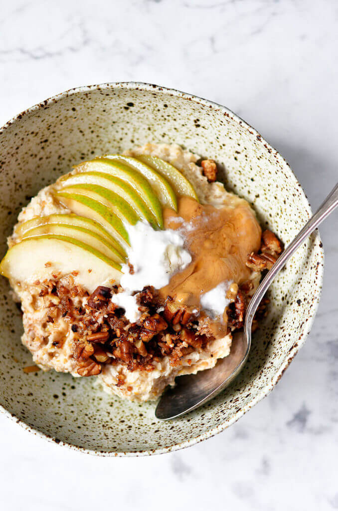 Paleo Porridge with Pears and Toasted Coconut