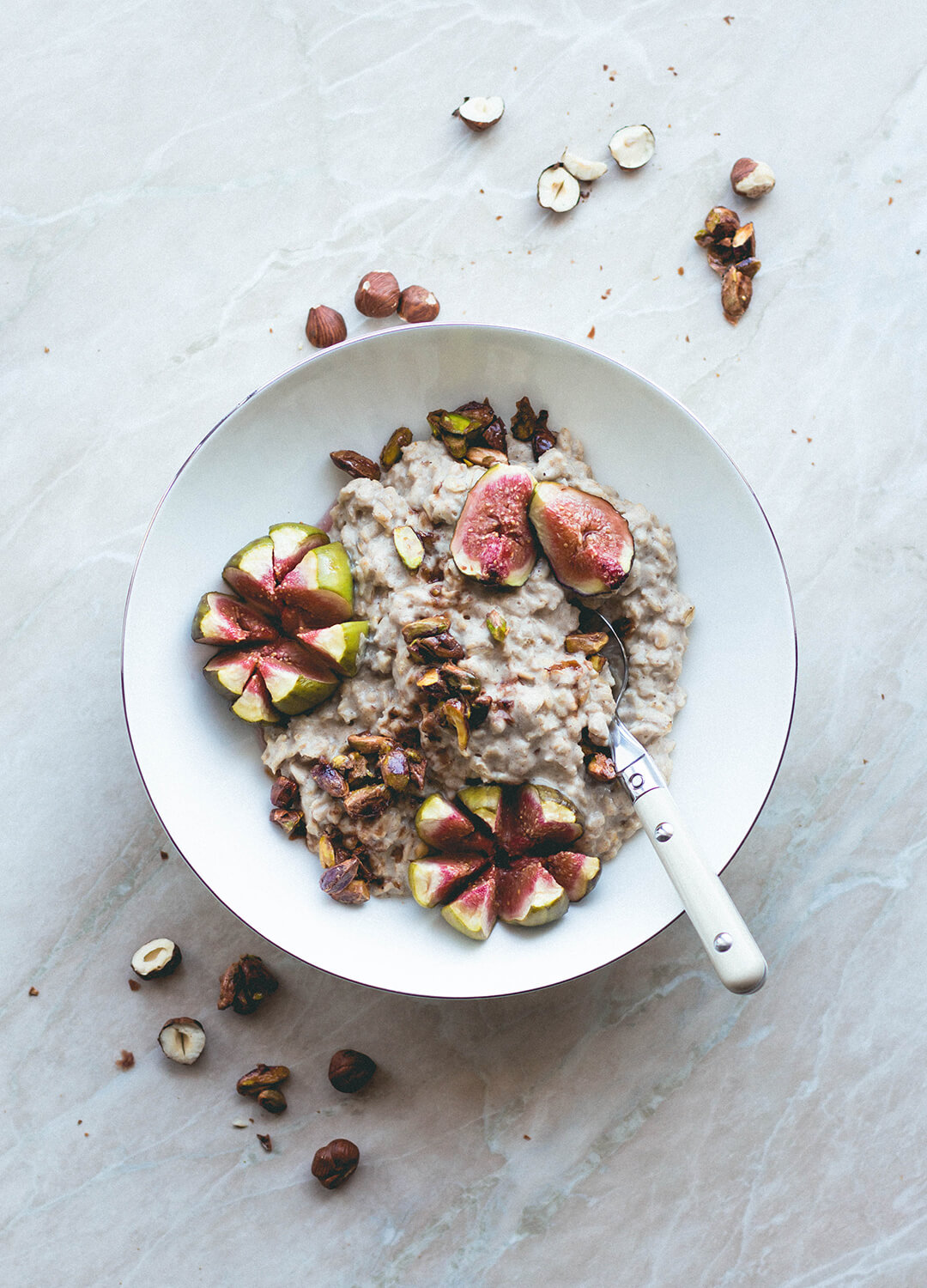 Hazelnut Oatmeal with Caramelized Pistachios and Figs
