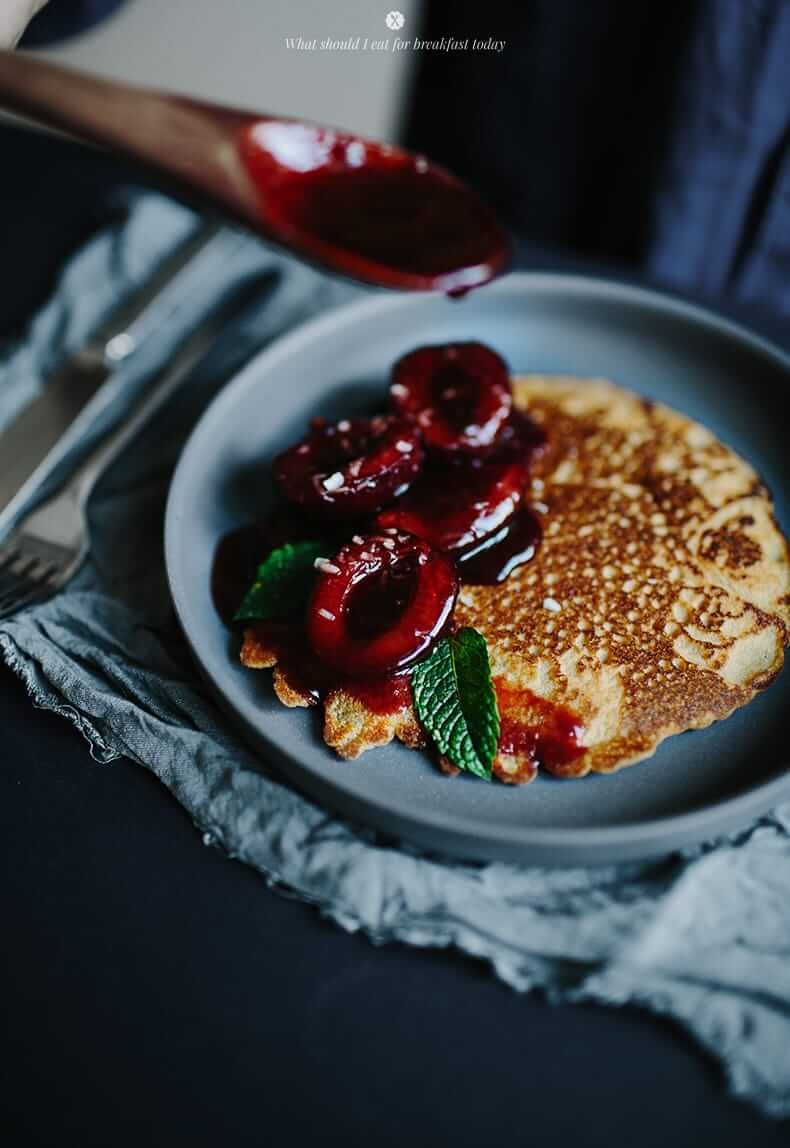 Rice Flour Pancakes with Plum Compote