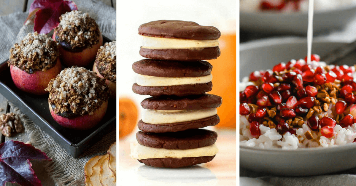 These Vegan Clean Eating Fall Desserts and Breakfasts will make sure that you can eat all the cozy sweets you want when it gets colder outside. Tasty recipes with juicy apple, pear, pumpkin and other healthy ingredients. | The Green Loot #vegan #veganrecipes #cleaneating