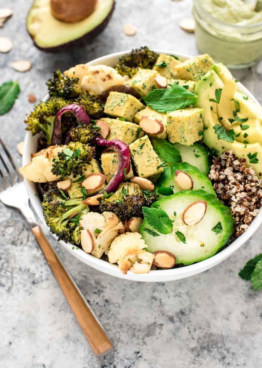Vegan Roasted Veggie Buddha Bowl with Quinoa and Avocado