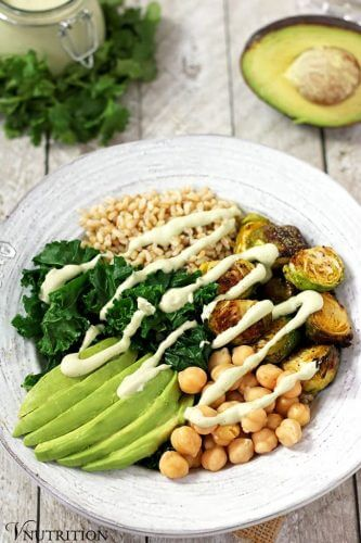 Vegan Green Power Bowl with Creamy Cilantro Lime Sauce
