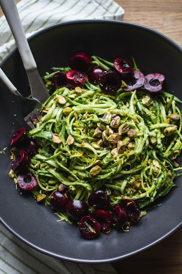 Vegan Pistachio Kale Pesto with Zucchini Noodles and Cherries