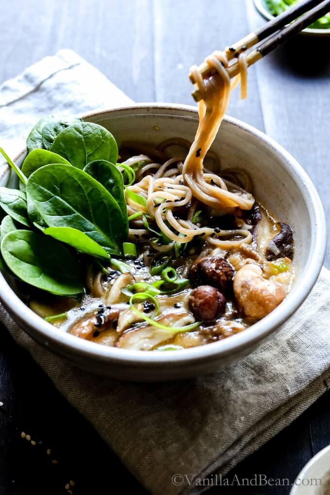 Vegan Speedy Miso Spinach Mushroom Ramen