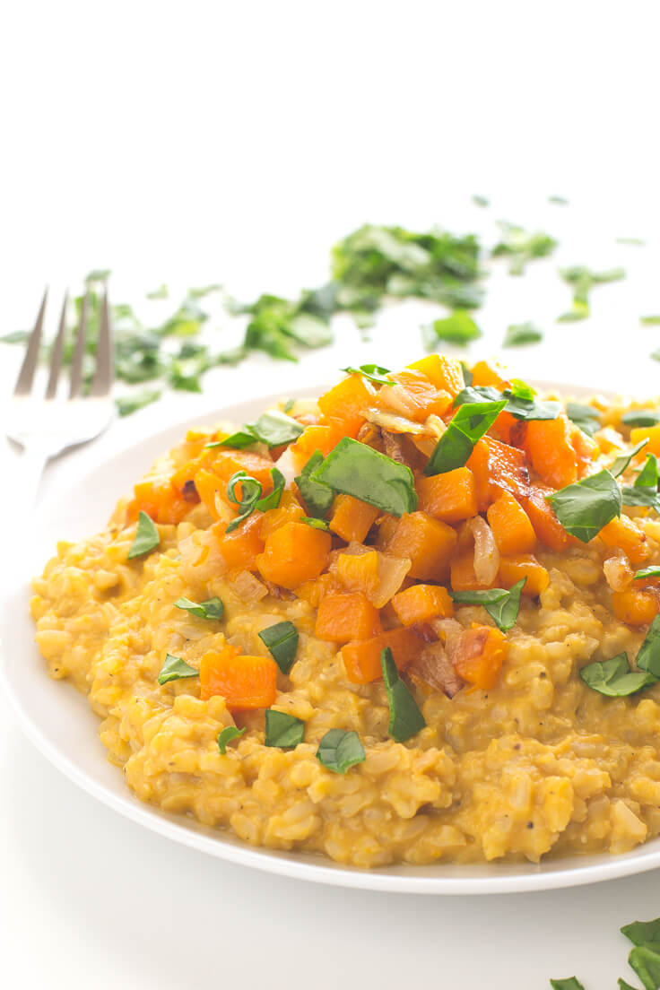 Vegan Butternut Squash Risotto (Healthy Vegan Fall Recipes for Dinner)