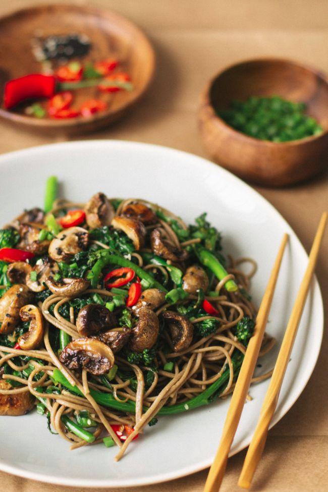 Roasted Teriyaki Mushroom Noodles