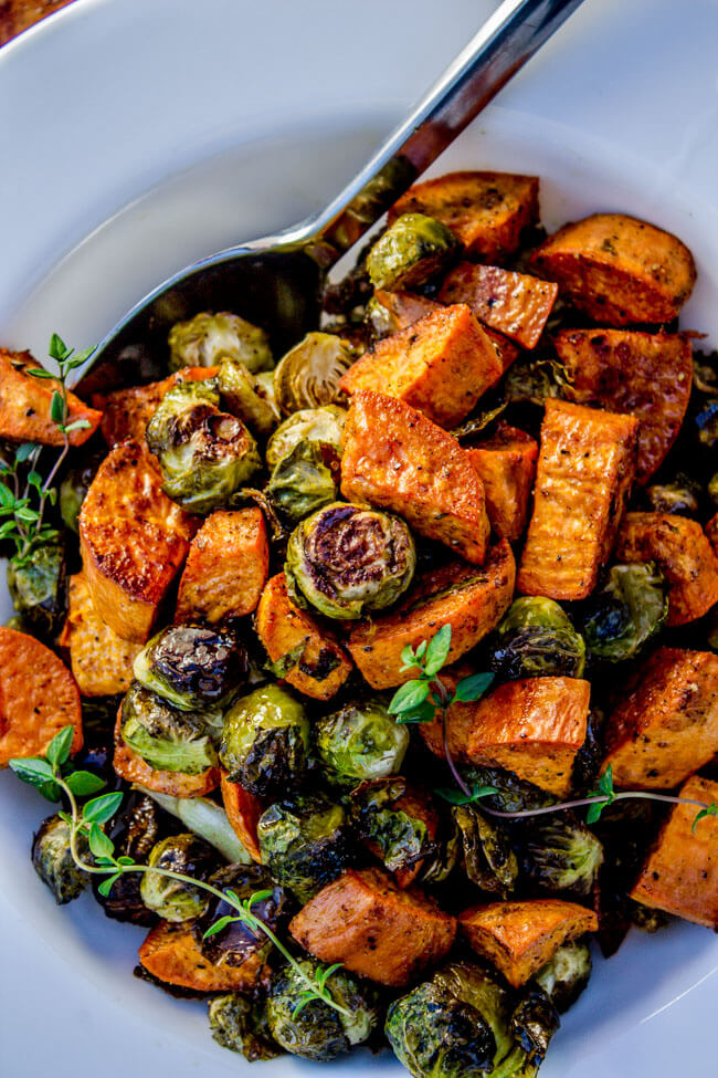 Vegan Roasted Sweet Potatoes and Brussels Sprouts