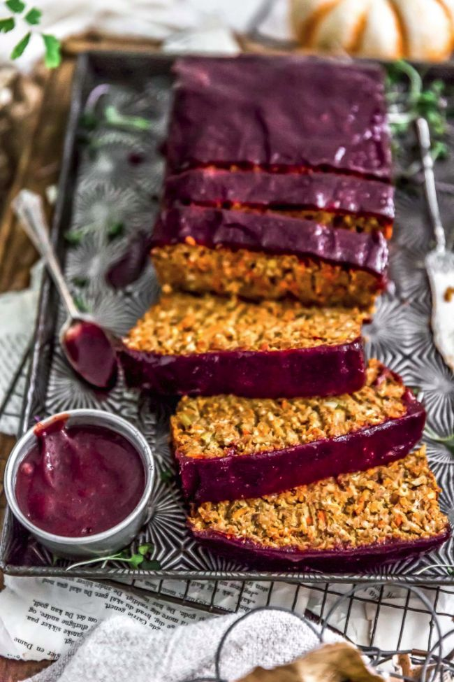 Veggie Loaf with Sweet Potatoes and Cranberry Glaze