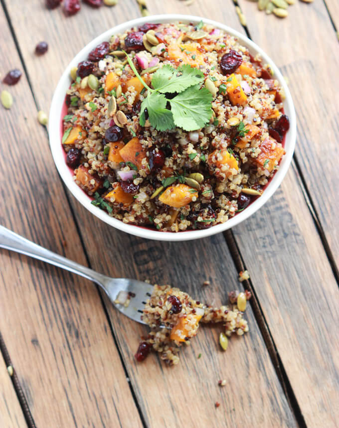 Vegan Butternut Squash and Cranberry Quinoa Salad