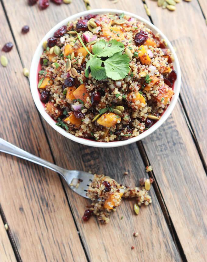 Vegan Butternut Squash and Cranberry Quinoa Salad