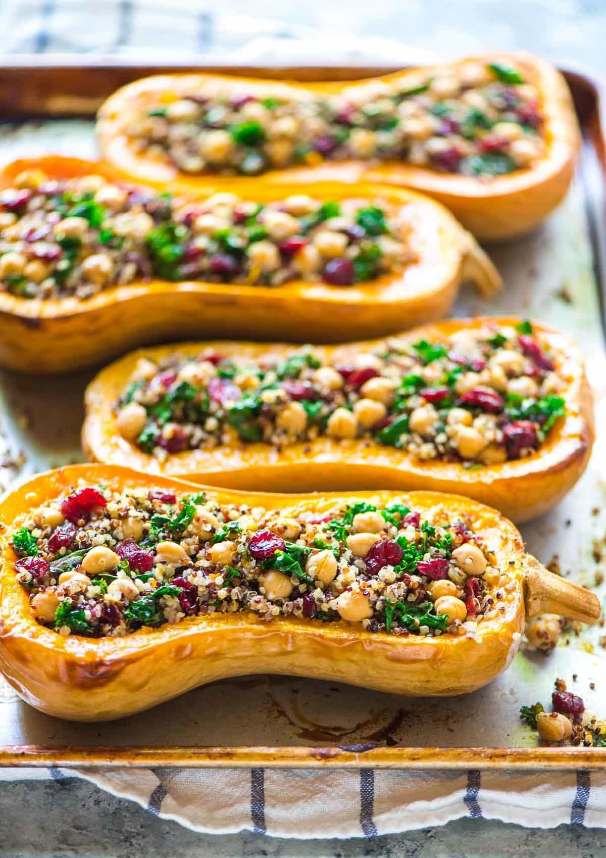 Vegan Stuffed Butternut Squash with Quinoa Cranberries and Kale
