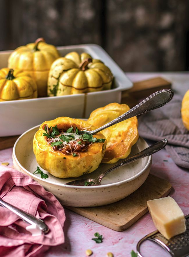 Roasted Pumpkin Lasagna Boat