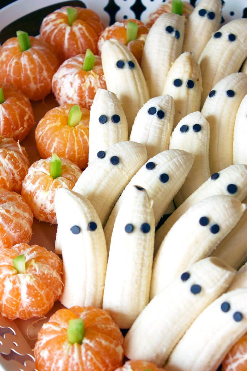 Vegan Tangerine Pumpkins & Banana Ghosts