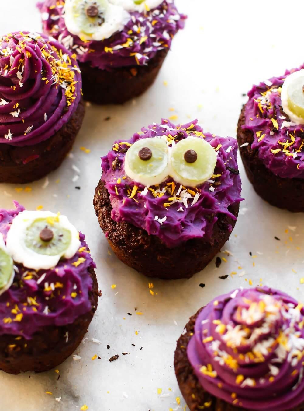 Vegan Halloween Cupcake Monsters