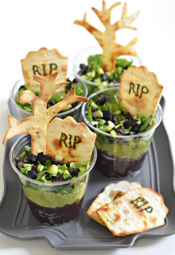 Vegan Graveyard Taco Cups // Vegan Halloween Treats, Snacks, Recipes