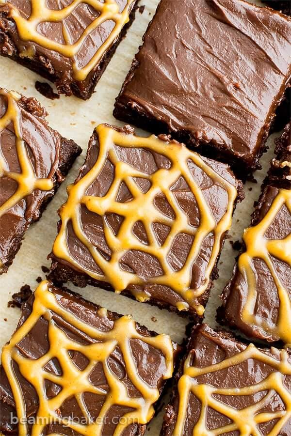 Vegan Chocolate Peanut Butter Spiderweb Brownies (Gluten-Free)