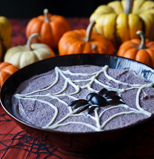 Vegan Spooky Black Bean Hummus // Vegan Halloween Treats, Snacks, Recipes