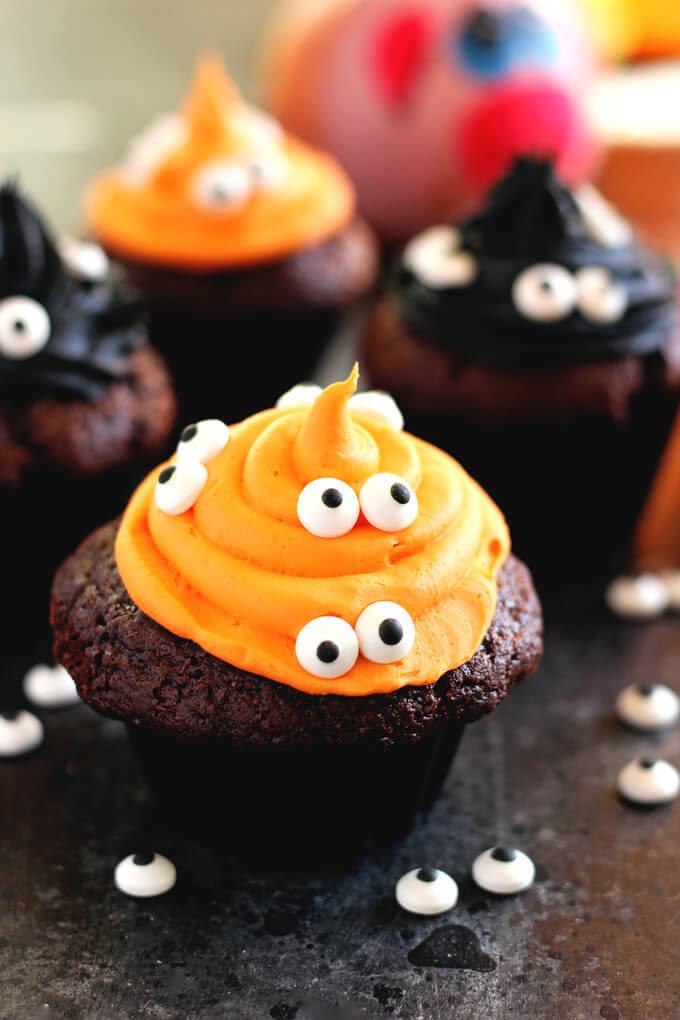 Vegan Halloween Monster Witch Cupcakes